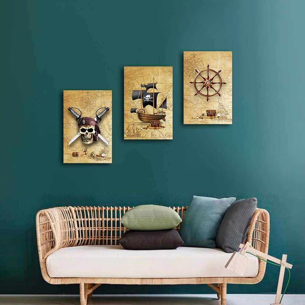Pirate Ship and rudders Canvas Wall Art