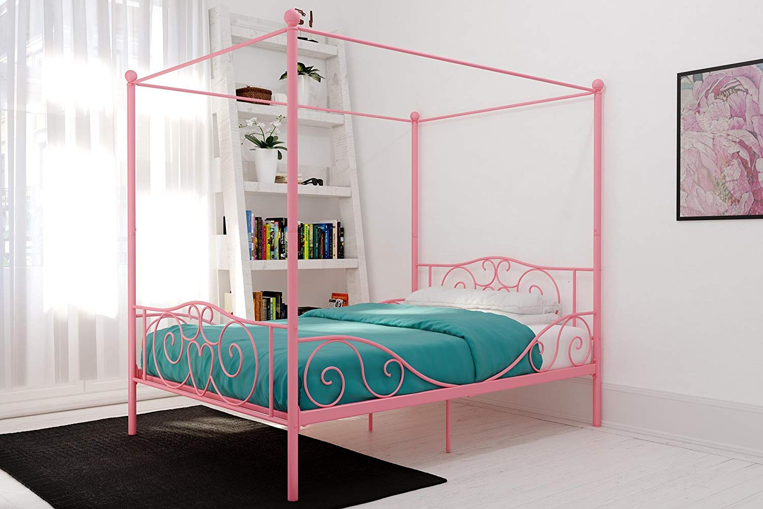 Canopy Metal Full Bed in Pink