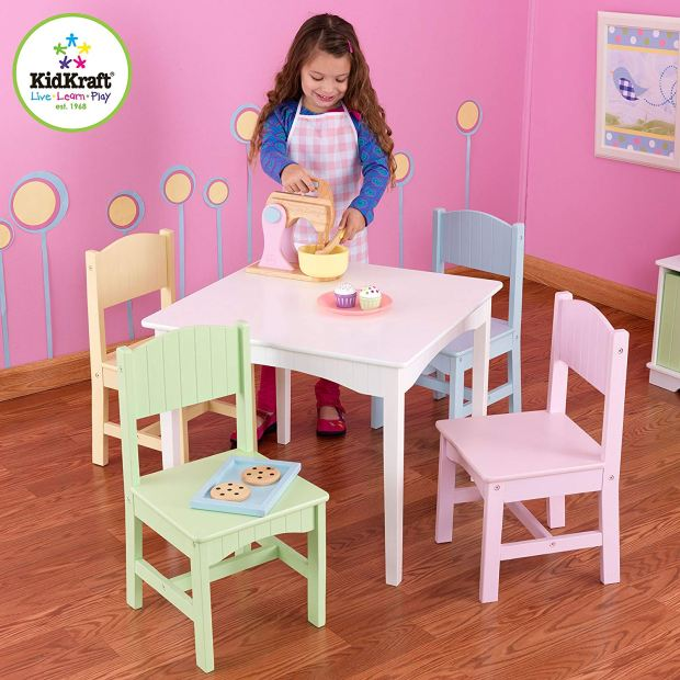 Nantucket Kid's Wooden Table & 4 Chairs Set with Wainscoting Detail