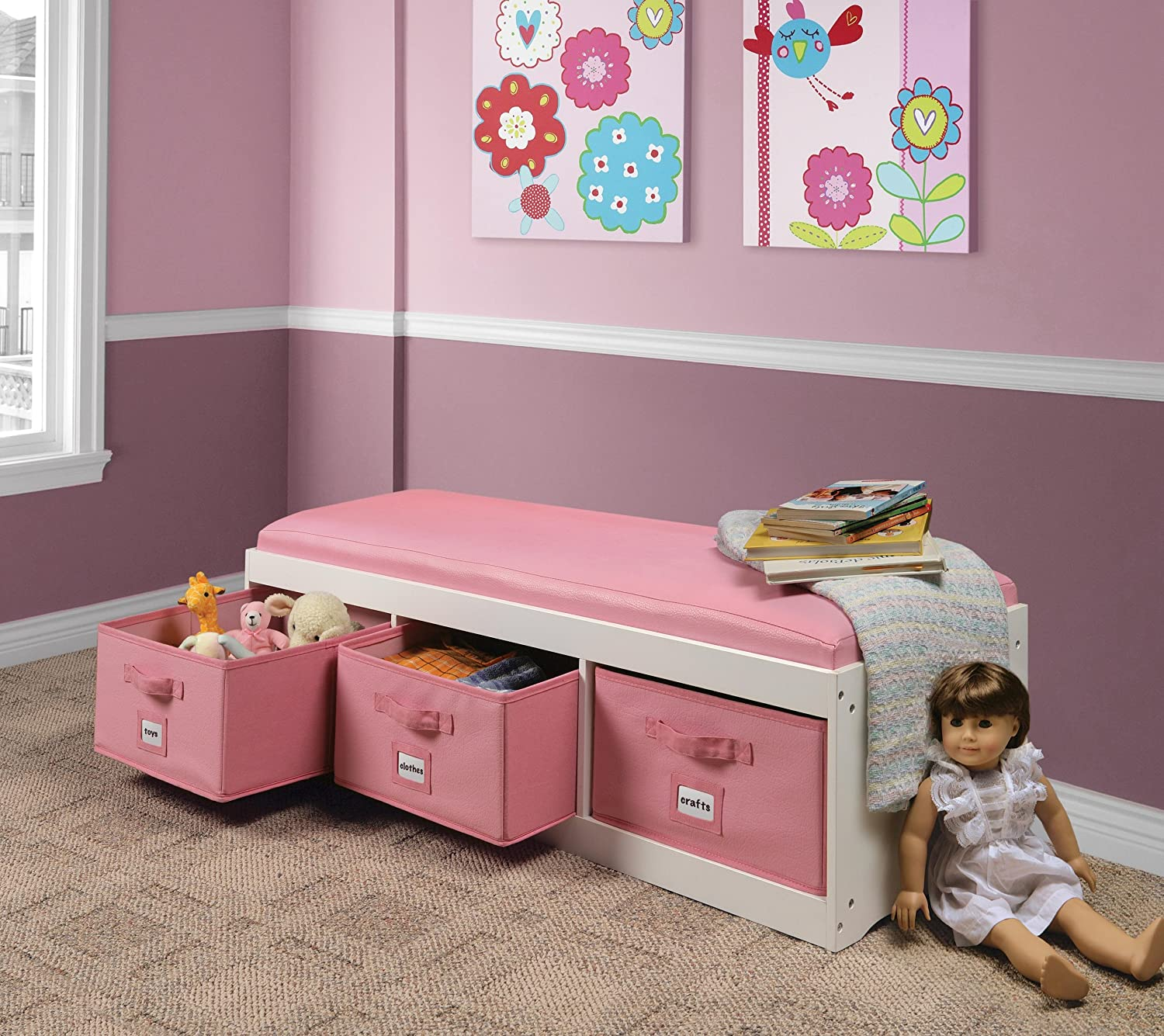 A storage bench provides extra seating in your kids room