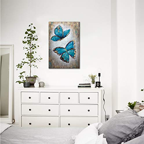 Hand Painted Adorable Butterfly Oil Paintings - Teal Blue and Gold