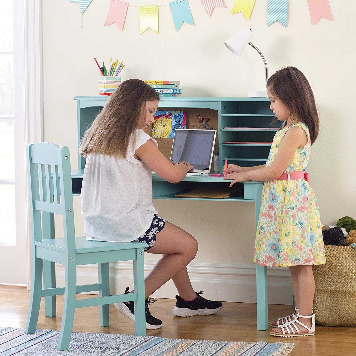 Children's Media Desk and Chair Set Teal