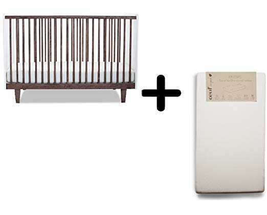 Oeuf Rhea Crib, Walnut/White + Oeuf Pure and Simple Natural Dual Firm Crib Mattress