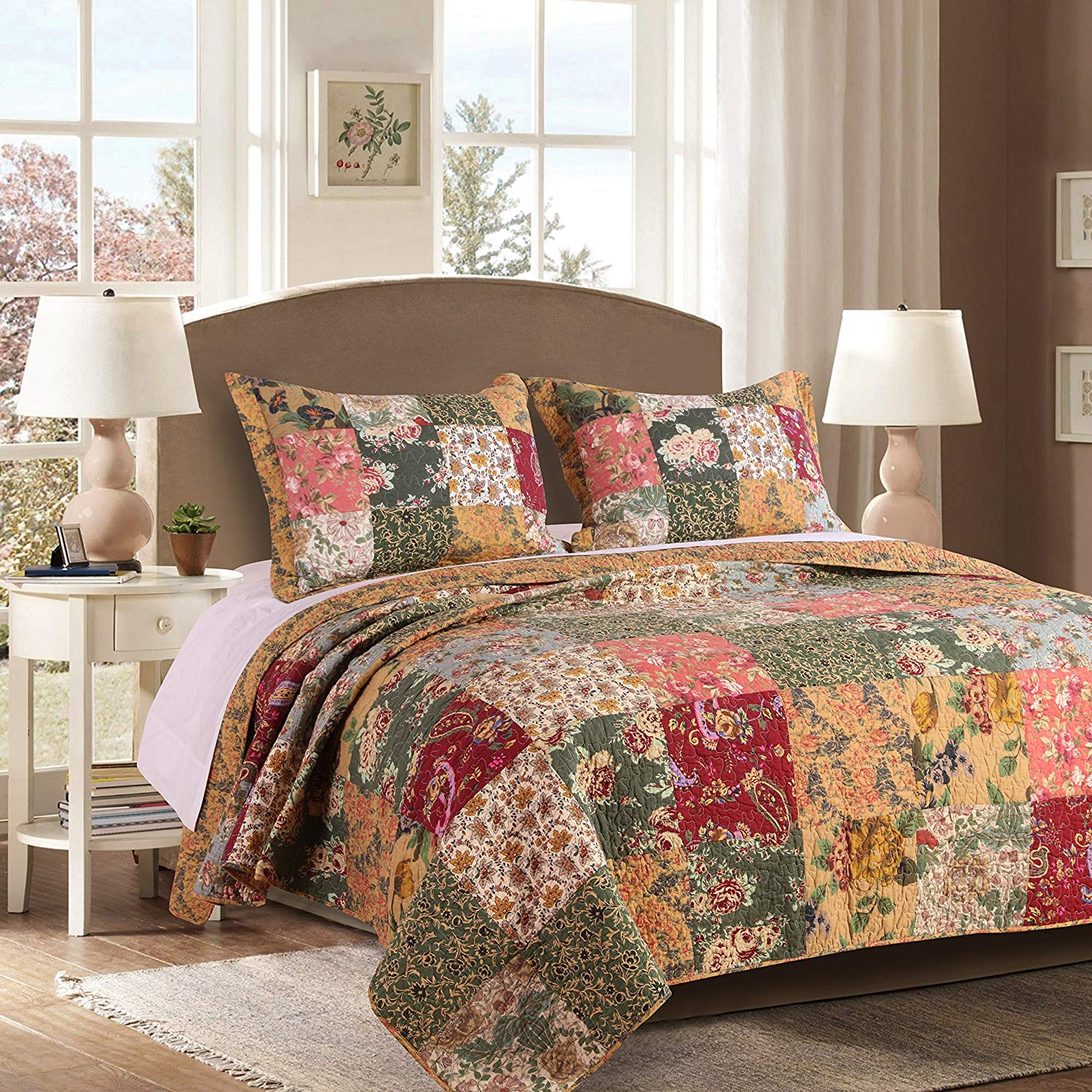 Greenland Home Antique Chic 100% Cotton Authentic Patchwork Quilt Set
