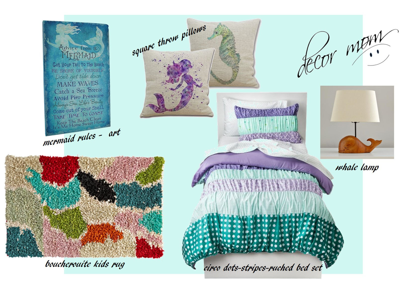 Mermaid Room Decor - 3 Inspiration Boards, Mermaid Bedroom ...