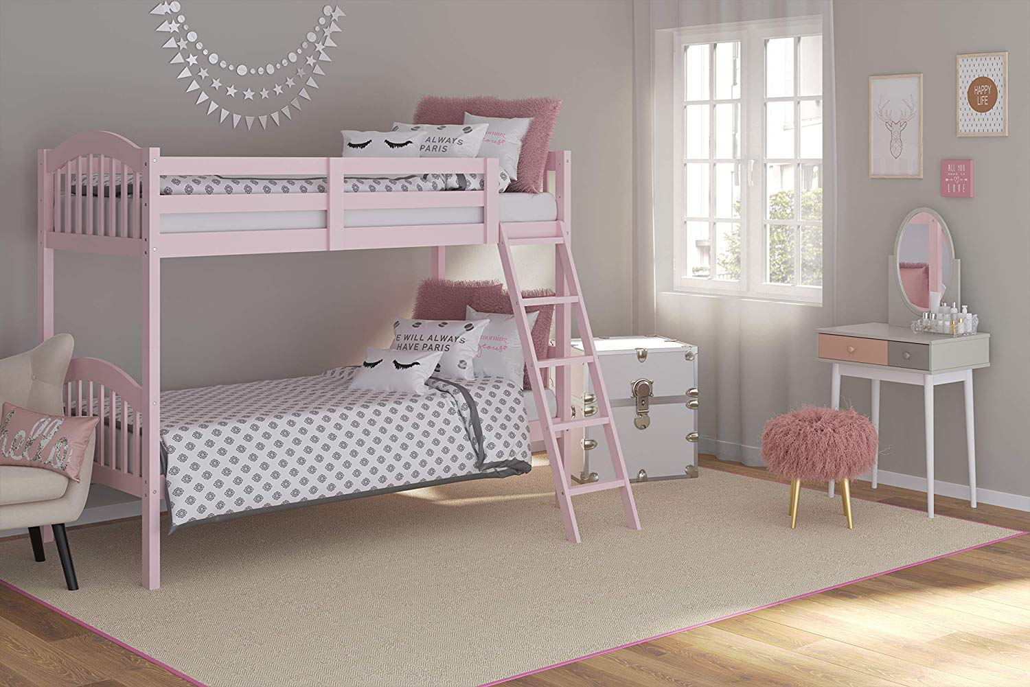 Pink Twin Bunk Beds for Kids with Ladder and Safety Rail by Storkcraft