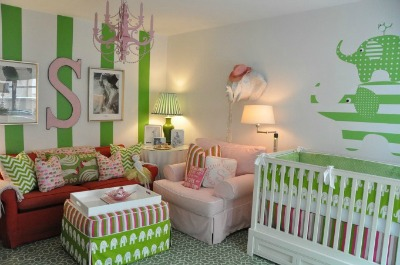 Green Stripes Baby Nursery