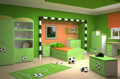 Sporty Soccer Green Room