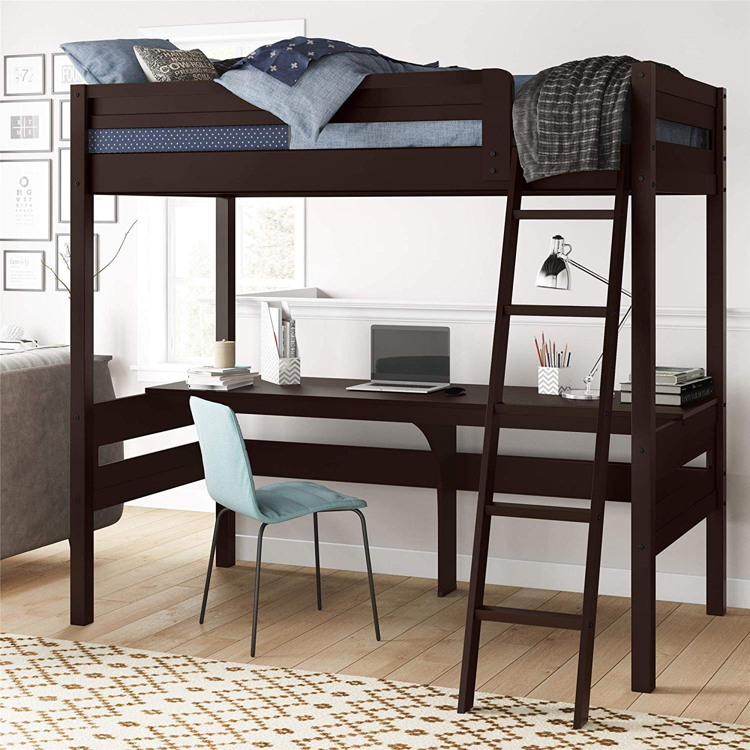 Harlan Wood Loft bed, Espresso or White