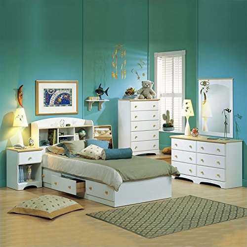Newbury Kids Twin Bookcase Storage Bed Set in White Finish