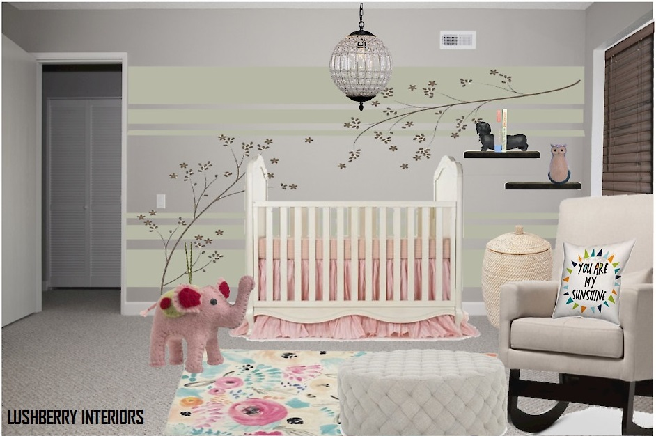 Wall paint and wall decals make a world of difference in this otherwise neutral nursery.