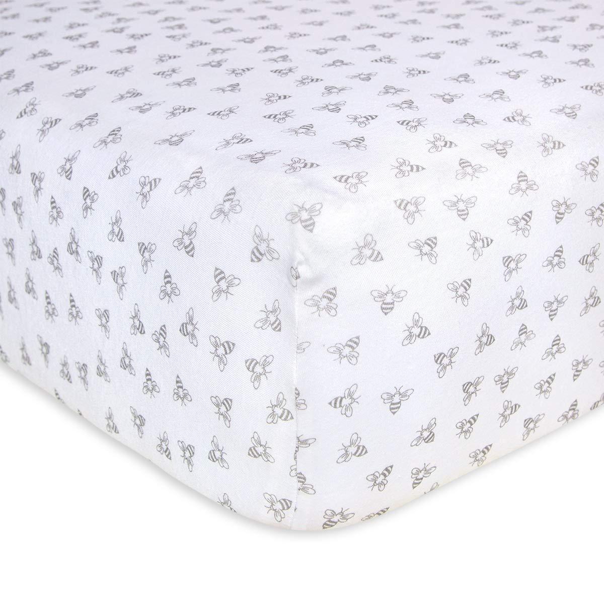 100% Organic Cotton Crib Sheet - Heather Grey Honeybee Print