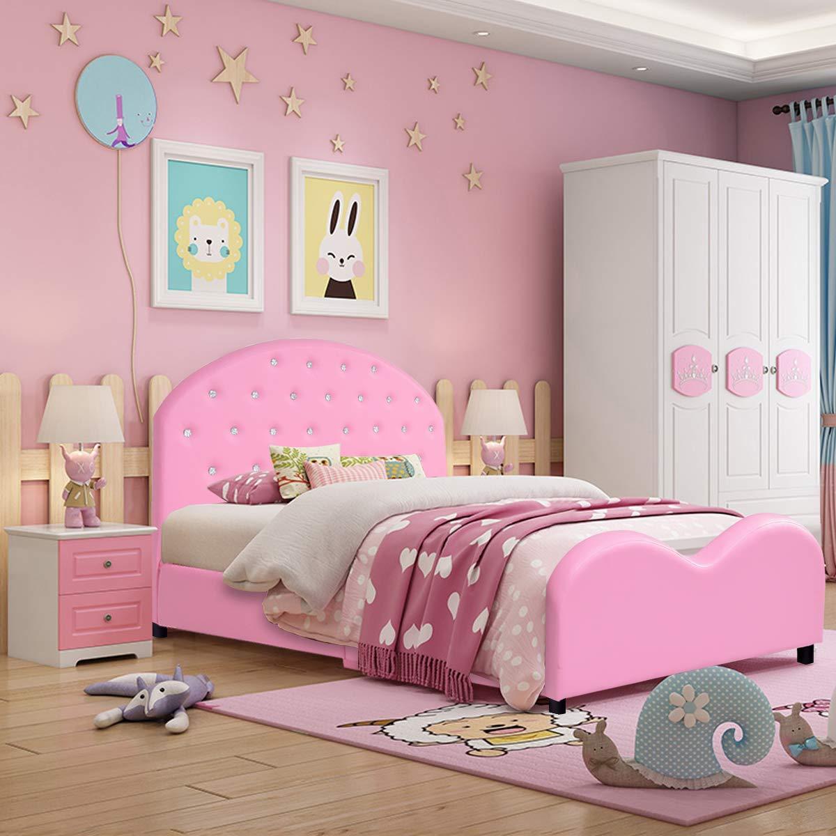 Upholstered Platform Bed W/Embedded Crystal - Pink