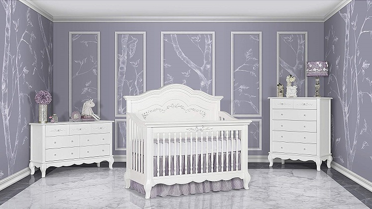 Evolur Aurora 5 in 1 Convertible Crib, Frost