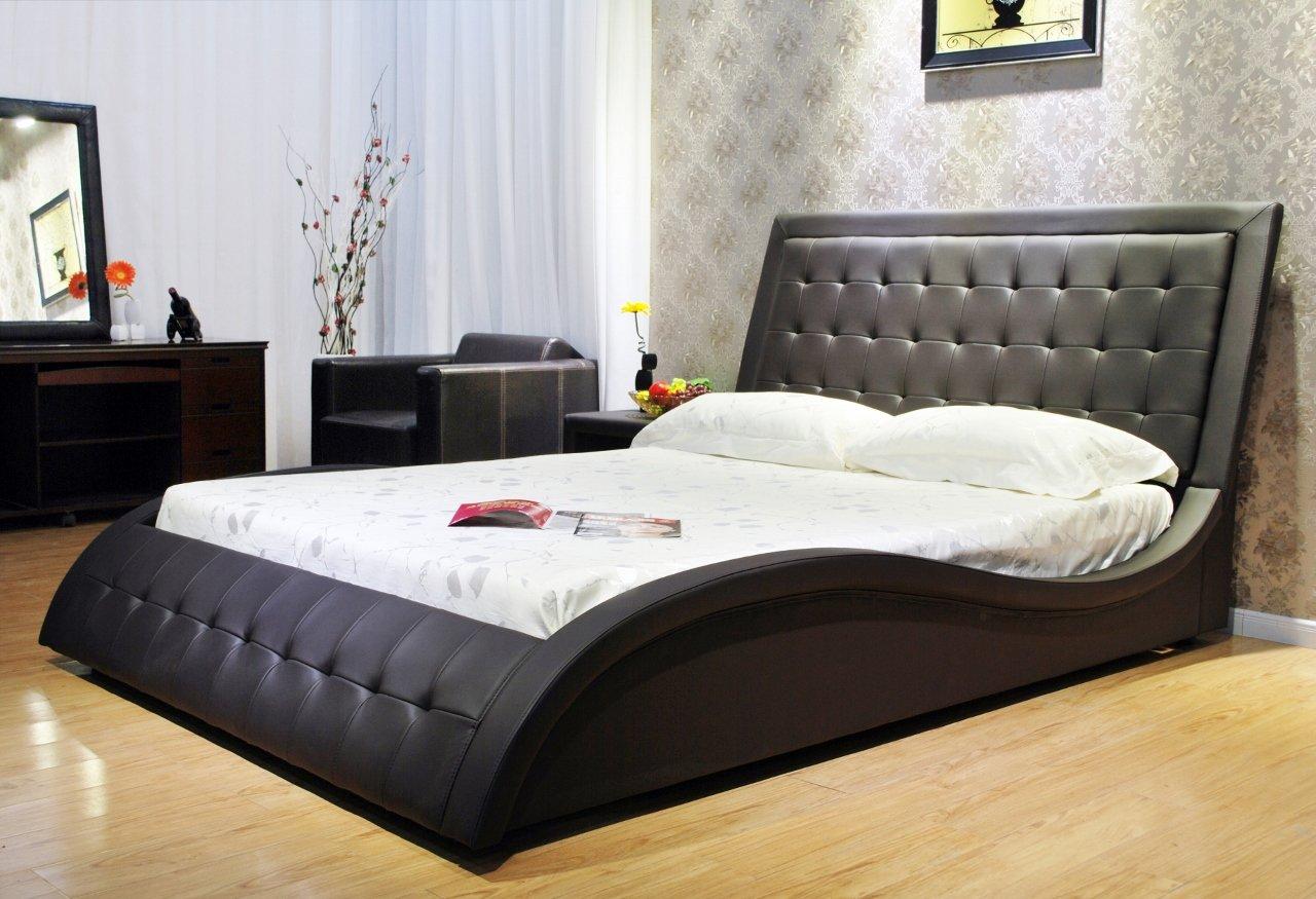 Black Wave-Like Shape Faux Leather Platform Bed