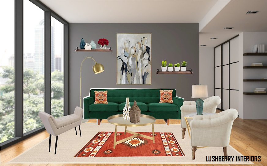 Emerald green sofa brings joy to an otherwise neutral living room space.