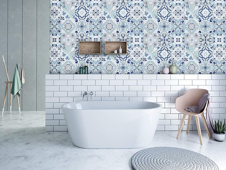 Blue Flower Peel and Stick Waterproof Wallpaper