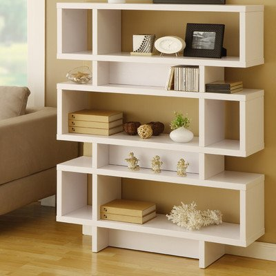 Celio Three-Tier Bookcase/Display Cabinet in Matte White