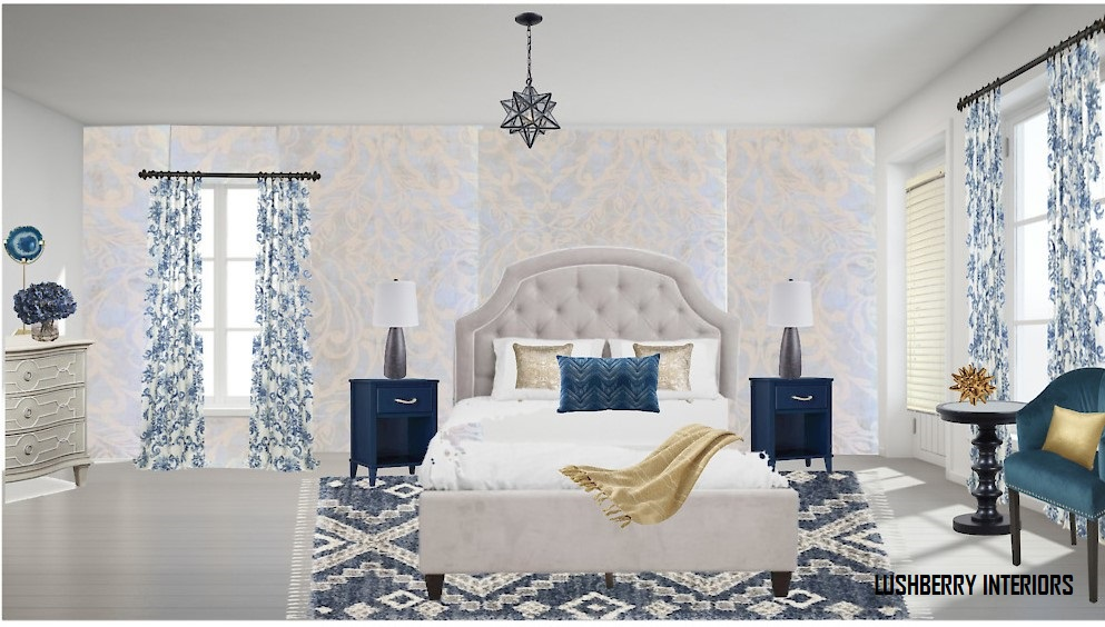 The different shades of blue add class to this serene bedroom retreat.
