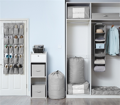 1PC Complete Dorm Organization Set - TUSK® Storage - Gray
