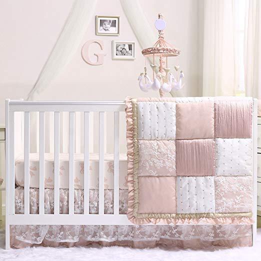 Grace 5 Piece Dusty Pink Crib Bedding Set