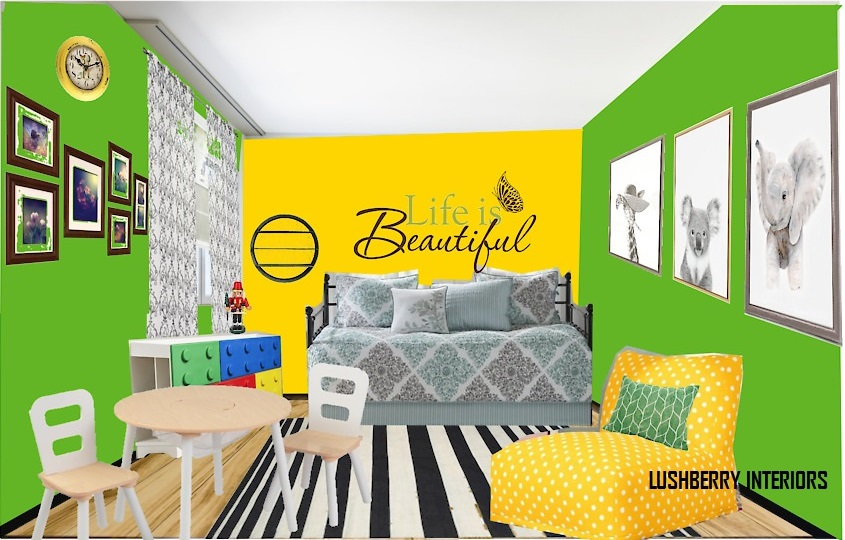 A vivacious room for a vibrant kid. The kids bedroom can be energetic and fun.