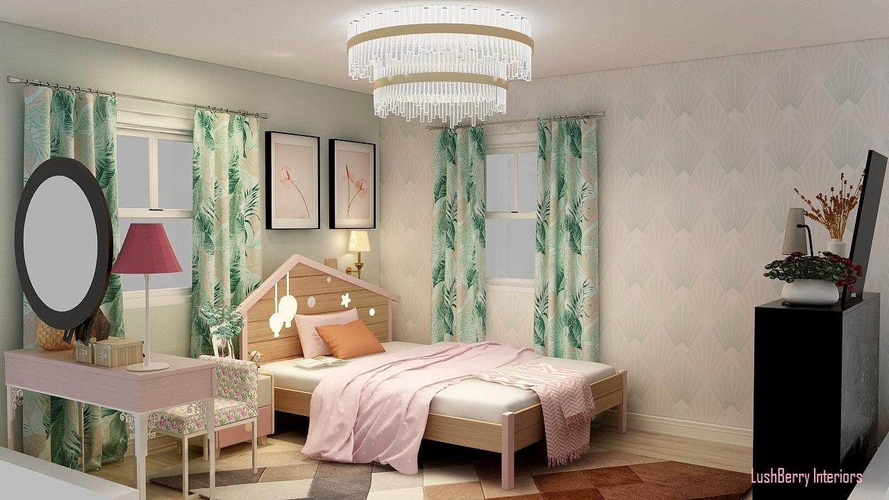 Teenage Girl Bedroom in Soft Pastels - 3D Rendering